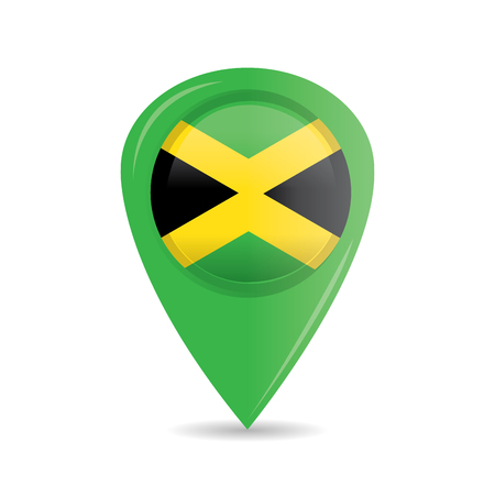 jamaican flag: Isolated pin with the jamaican flag on a white background