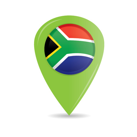 south african flag: Isolated pin with the south african flag on a white background