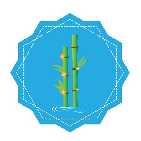 massage symbol: Isolated sticker with bamboo on a white background