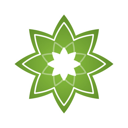 body massage: Isolated green lotus flower on a white background Illustration