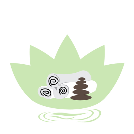 stones with flower: Isolated lotus flower with a group of stones and a group of towels Illustration
