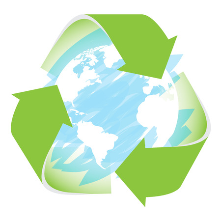 recyclable: Isolated planet earth with a texture and a recyclable symbol on a white background
