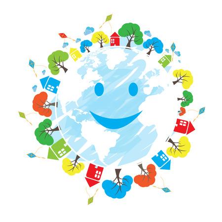 planeta tierra feliz: Aislado feliz planeta tierra con diferentes iconos sobre un fondo blanco