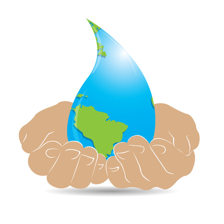 preservation: Pair of hands holding our planet with a water drop shape on a white background