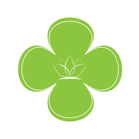 massage symbol: Isolated flower shaped sticker with a sketch of a lotus flower