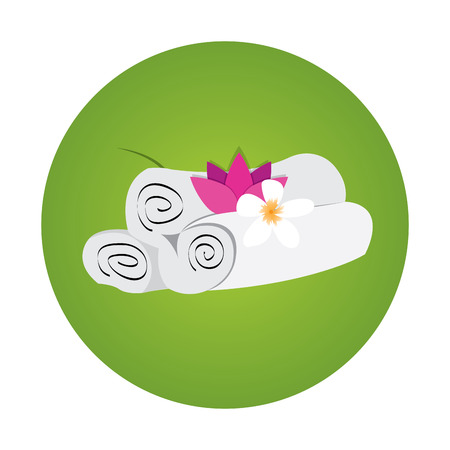 massage symbol: Isolated green sticker with towels and flowers