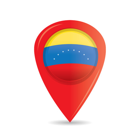 venezuelan flag: Isolated pin with the venezuelan flag on a white background
