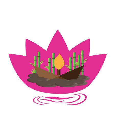 silhouette fleur: Isolé fleur de lotus rose avec des pierres, une bougie et le bambou Illustration