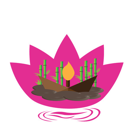 stones with flower: Isolated pink lotus flower with stones, a candle and bamboo