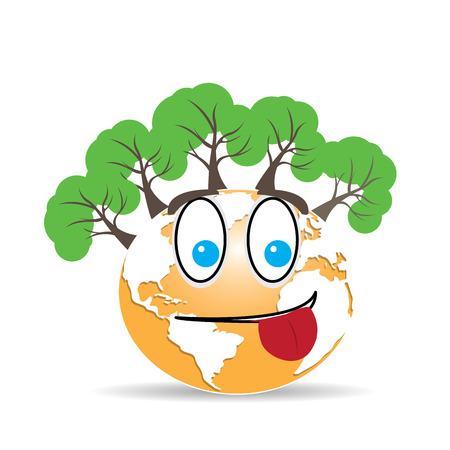 planeta tierra feliz: planeta tierra aislado con una cara feliz y los árboles sobre un fondo blanco