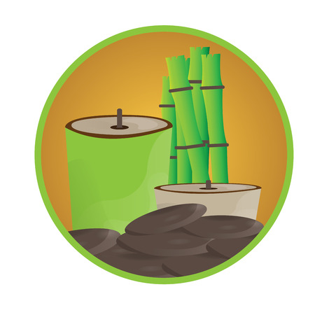 group therapy: Isolated sticker with stones, a pair of candles and bamboo Illustration