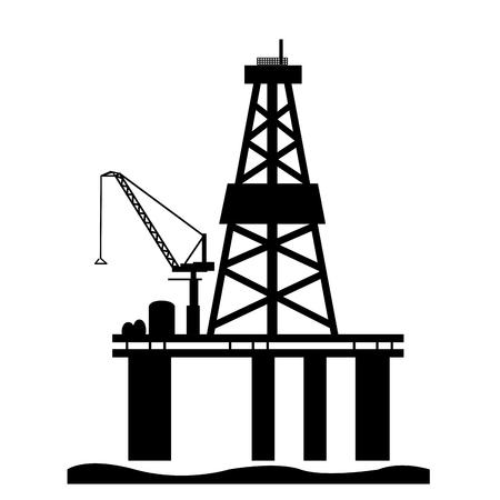 oil platform: Isolated oil platform silhouette on a white background