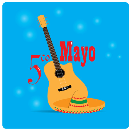 commemorative: Blue background with text, a guitar and a traditional hat