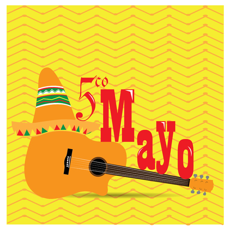 commemorative: Textured background with a guitar, text and a traditional hat Illustration