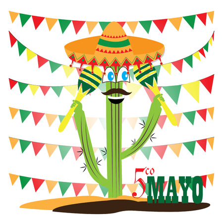 commemorative: White background with ornaments, text, a cactus, a traditional hat and a pair of shakers Illustration