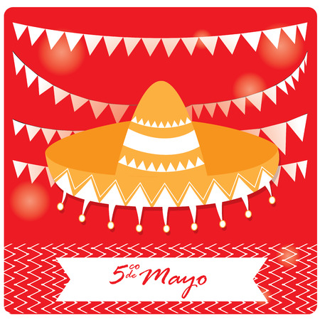 commemorative: Colored background with a traditional hat, ornaments and a ribbon with text