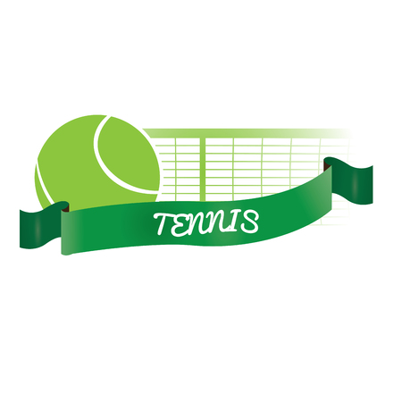 tennis net: Isolated tennis net and ball with a ribbon with text on a white background