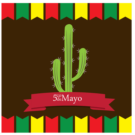 commemorate: Colored background with ornaments, a cactus and a ribbon with text Illustration