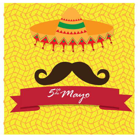commemorate: Textured background with a traditional hat, a mustache and a ribbon with text