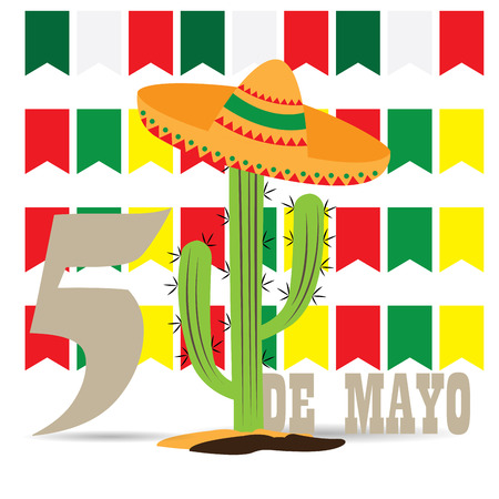 commemorate: White background with ornament, text and a cactus with a traditional hat Illustration
