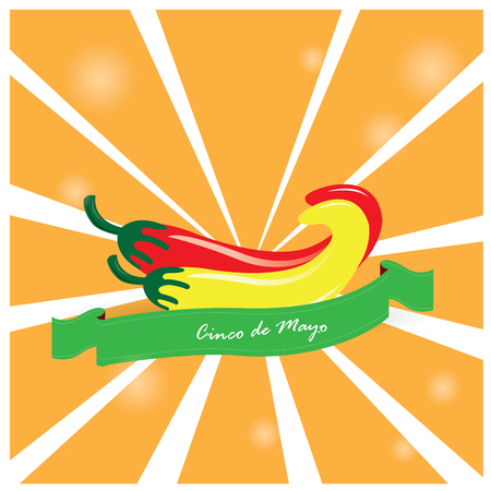 commemorate: Colored background with a pair of peppers and a ribbon with text