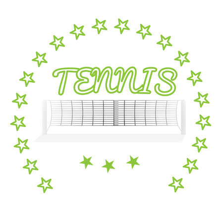 tennis net: Isolated tennis net, some stars and text on a white background