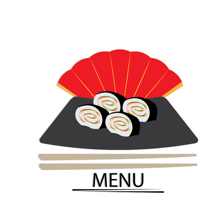 hand fan: Isolated sushi with chopsticks and a hand fan