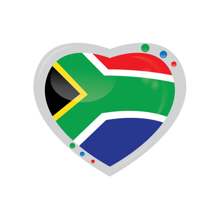 south african flag: Isolated heart shape with the south african flag on a white background