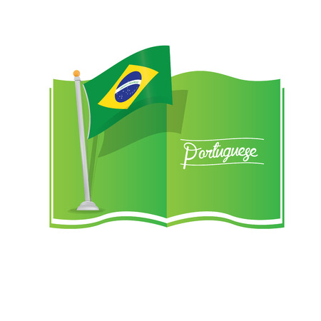 dictionary: Isolated dictionary with text and the brazilian flag Illustration