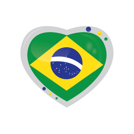 brazilian flag: Isolated heart shape with the brazilian flag on a white background