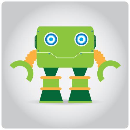 juguete: Aislado robot de juguete de color sobre un fondo blanco