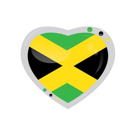 jamaican flag: Isolated heart shape with the jamaican flag on a white background Illustration