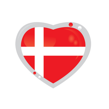 danish flag: Isolated heart shape with the danish flag on a white background