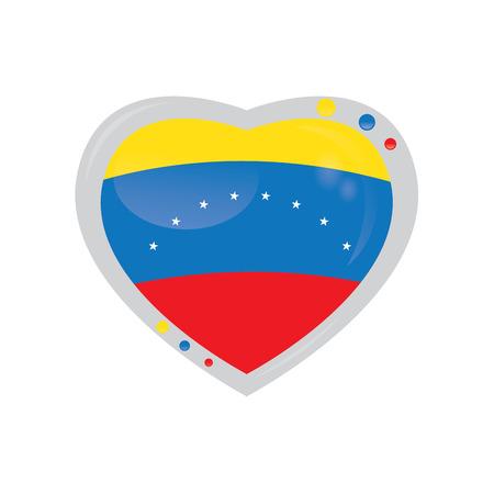 venezuelan: Isolated heart shape with the venezuelan flag on a white background Illustration