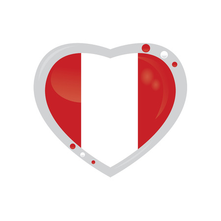 peruvian: Isolated heart shape with the peruvian flag on a white background