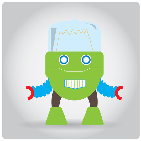 iron fun: Isolated colored robot toy on a white background