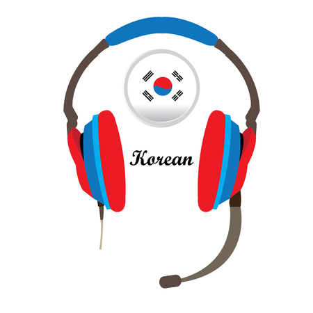 korean flag: Isolated headphones with the south korean flag and text on a white background
