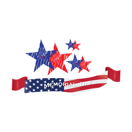 american history: Isolated group of stars with textures and a ribbon with text and the american flag