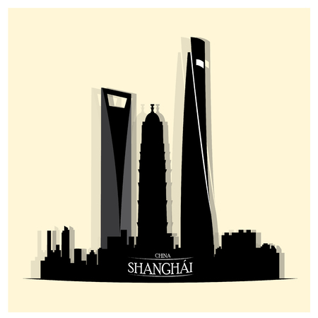 Isolated skyline of shanghai on a white background
