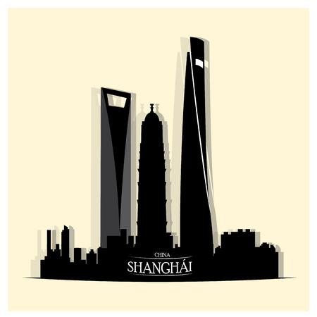 shanghai skyline: Isolated skyline of shanghai on a white background
