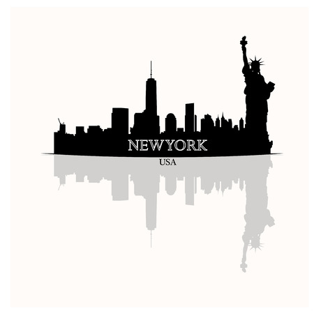 new york skyline: Isolated skyline of New York with a reflection on a white background