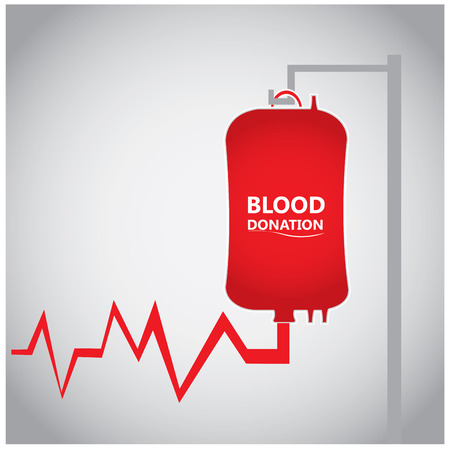 transfuse: Colored background with a cardiogram and a blood bag with text Illustration