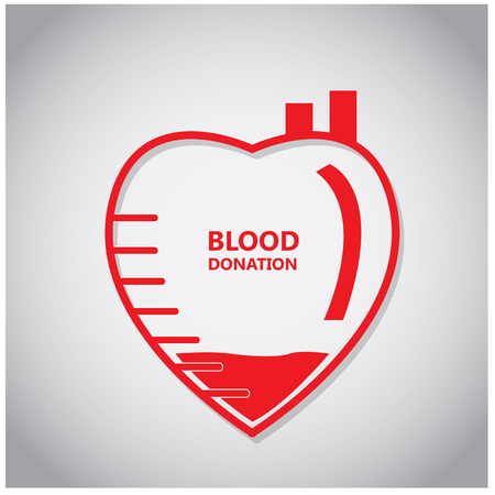 transfuse: Isolated heart with text and blood on a colored background