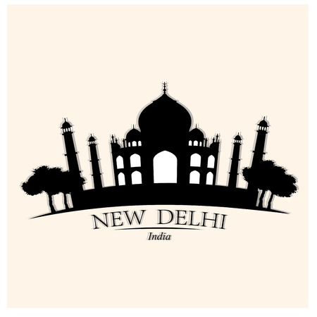 metropolis image: Isolated skyline of New Delhi on a colored background