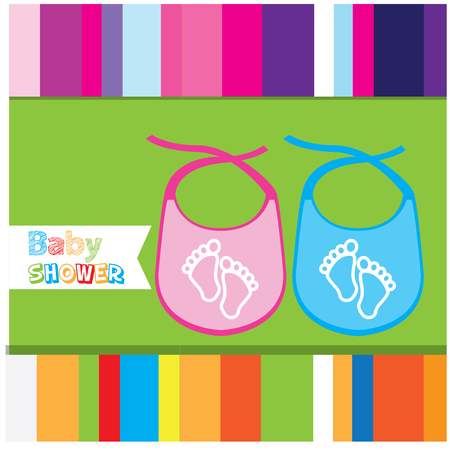 bibs: Colored background with a pair of bibs and footprints Illustration