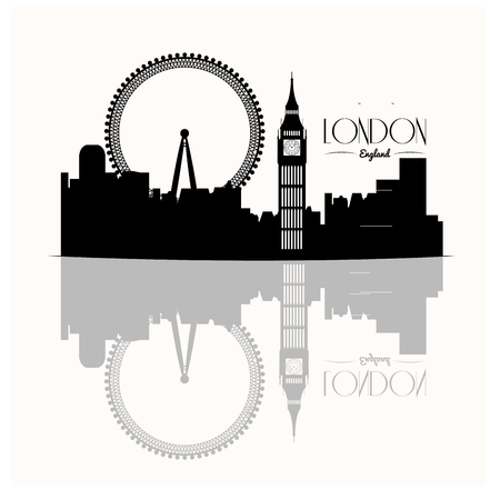 metropolis image: Isolated skyline of london with a reflection on a white background Illustration