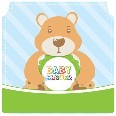 baby bear: Isolated teddy bear on a textured background for a baby shower