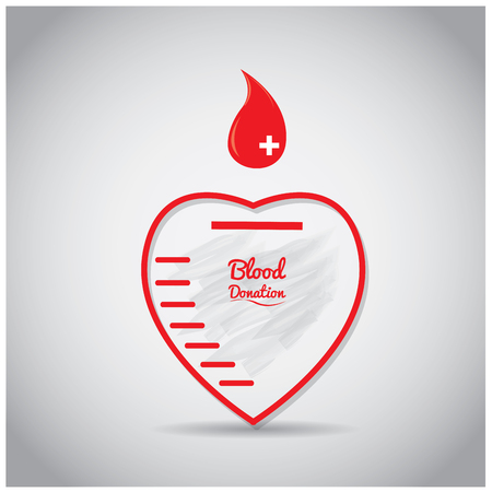 transfuse: Isolated heart shape with text and a drop of blood on a colored background Illustration