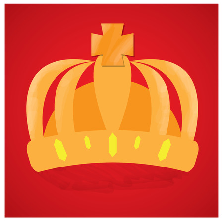 royal background: Isolated royal crown on a red background