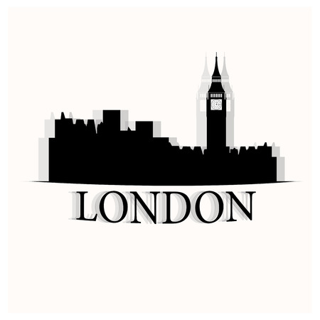 metropolis image: Isolated skyline of London with with a reflection on a white background Illustration